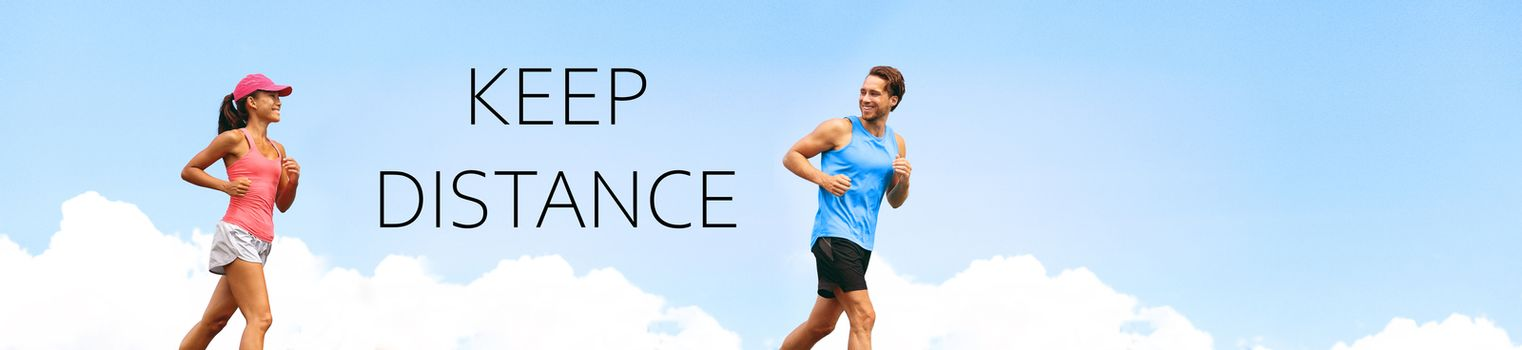 KEEP DISTANCE social distancing COVID-19 people walking running exercising outdoor in city. Healthy active runners man woman jogging header summer lifestyle banner.