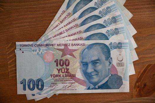 Bunch of 100 Turkish Currency Lira Banknotes