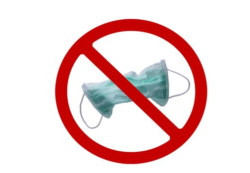 Used green surgical face mask in red forbidden symbol on white background. No discard used medical face mask in this area. Medical waste management with hygienic rule in hospital and community.
