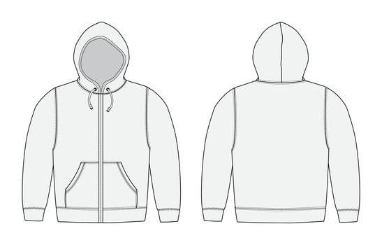 Vector illustration of hoodie (hooded sweatshirt) , zip up parka