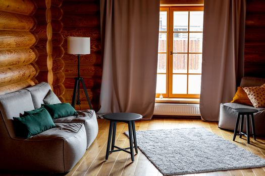 Cozy interior design of a wooden cottage