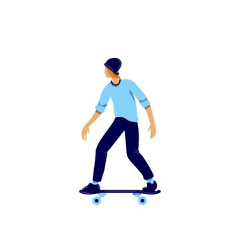 Skater flat color vector faceless character. Teenager hobby. Activity for recreation. Urban lifestyle. Extreme sport isolated cartoon illustration for web graphic design and animation