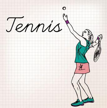 Tennis players sketch illustration