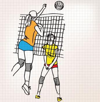 Girls playing volleyball sketch illustration