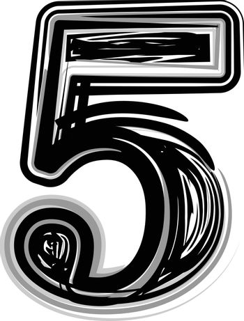 Freehand Typography Number 5