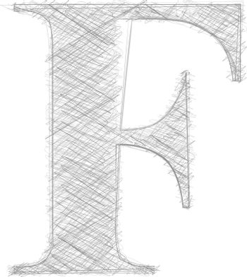 Freehand Typography Letter F