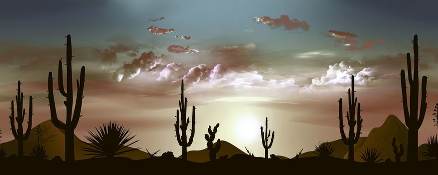 Sunset in the Mexican desert. Sun and clouds. Silhouettes of stones, cacti and plants. Evening landscape with cacti. Stony desert.