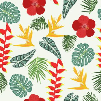 Seamless pattern with Tropical jungle leaves and flowers, vintage style.