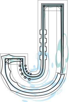 Font illustration letter J