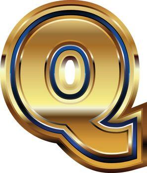 Golden Font Letter Q