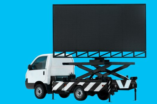 Billboard on car LED panel for sign Advertising isolated on background blue