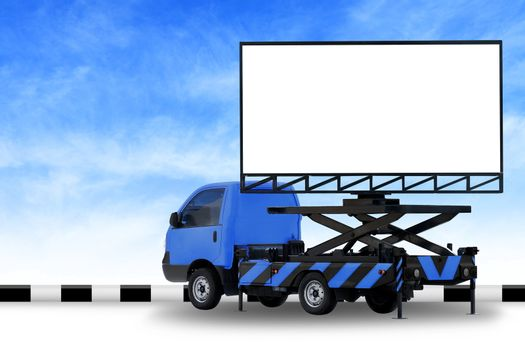 Billboard blank on car blue truck LED panel for sign Advertising isolated on background sky, Large banner and billboard Roadside for an advertisement large
