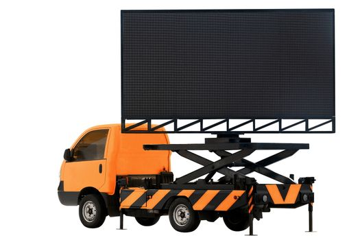 Billboard on car orange color LED panel for sign Advertising isolated on background white