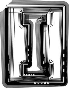 Striped Font Letter I