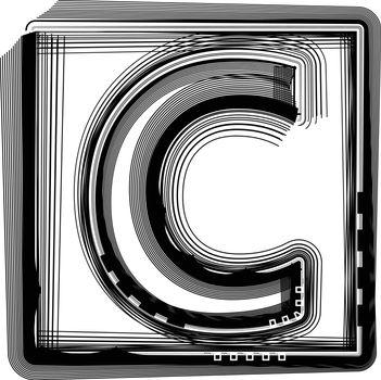 Striped Font Letter C