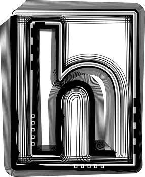 Striped font LETTER h