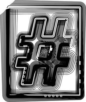 NUMBER Striped Symbol
