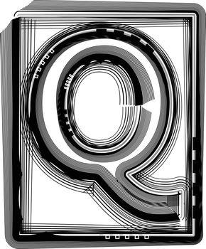 Striped Font Letter Q