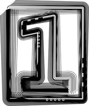 Striped font NUMBER 1