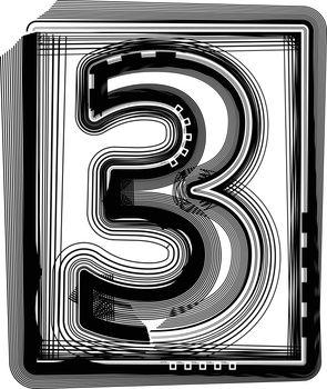 Striped font NUMBER 3