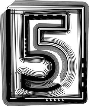 Striped font NUMBER 5