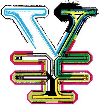 Colorful Grunge yen symbol