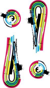 Colorful Grunge exclamation mark symbol