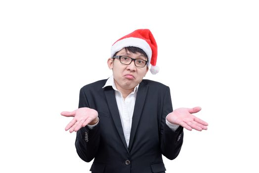 Business man has unknowing with Christmas festival themes isolat