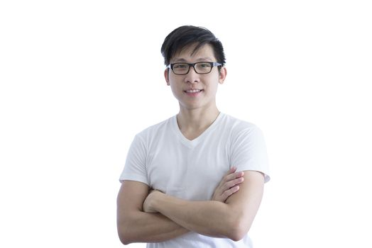 Asian handsome man with white shirt and orange eyeglasses has ar