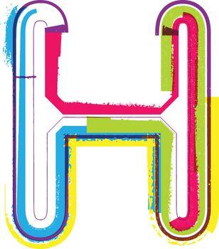 Colorful Grunge LETTER H