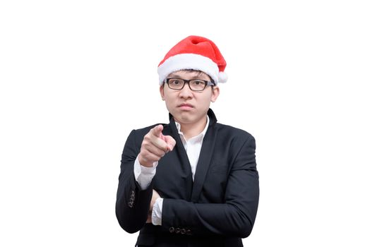Business man has angry and upset with Christmas festival themes