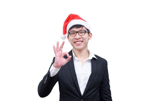 Business man has okay with Christmas festival themes isolated on