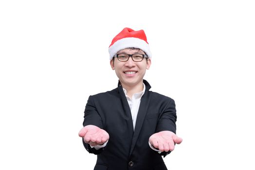 Business man with Christmas festival themes isolated on white ba