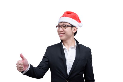 Business man has thumb show with Christmas festival themes isola