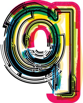 Colorful Grunge LETTER q