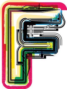 Colorful Grunge LETTER F
