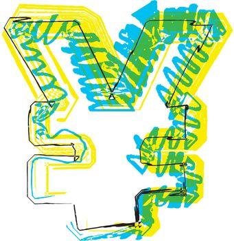 Hand drawn yen symbol