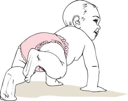 illustration of Crawling baby girl in diaper