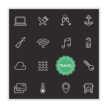 Set of Travel Holiday Vector Illustration Elements can be used as Logo or Icon in premium quality