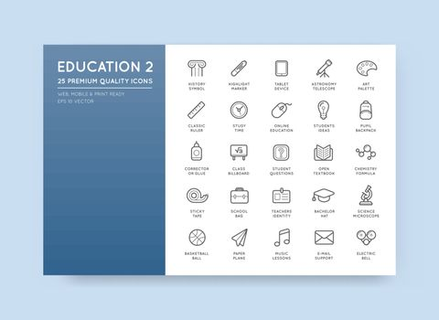 Set of Vector Education Icons Illustration can be used as Logo or Icon in premium quality