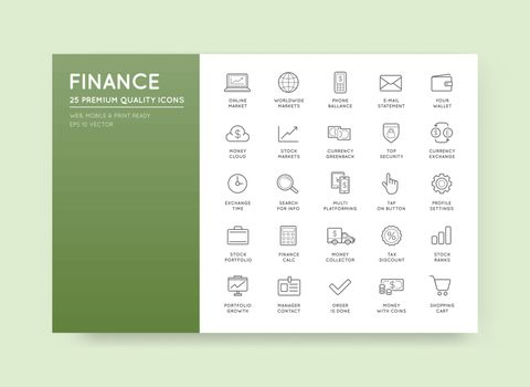 Set of Vector Finance and Money Icons can be used as Logo or Icon in premium quality