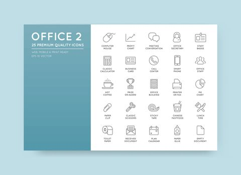 Vector High Qulaity Office Outline Icons Set