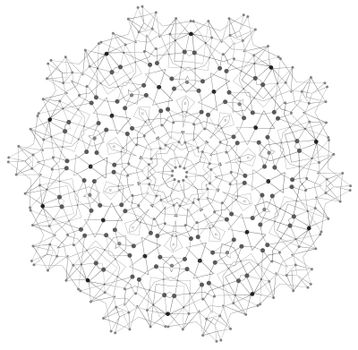 Vector Shape, Molecular Structure with Lines and Dots