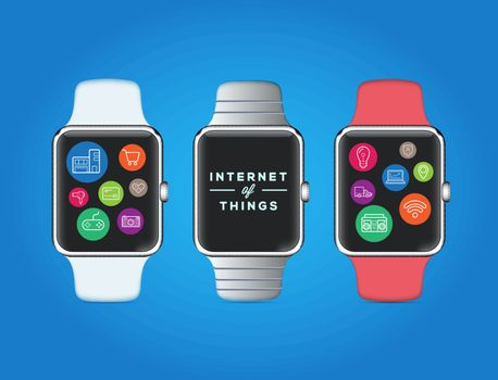 IOT Internet of Things on Smart Watch Vector Quality Design with Icons