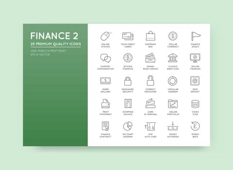 Set of Vector Finance Money Icons and Payments and Income Rich can be used as Logo or Icon in premium quality