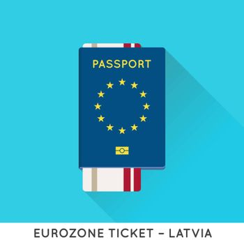 Eurozone Europe Passport with tickets vector illustration. Air Tickets with EU National Flag.