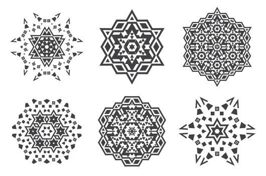Israel Jew Ethnic Fractal Mandala Vector looks like Snowflake or Maya Aztec Pattern or Flower