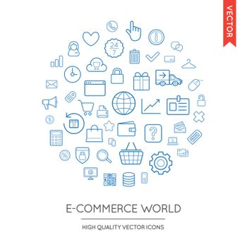 Vector Set of E-Commerce Modern Flat Thin Icons Inscribed in Round Shape