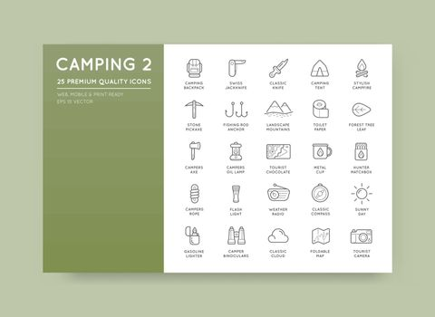 Set of Thin Vector Hunting Camping Sport Elements Illustration can be used as Logo or Icon in premium quality