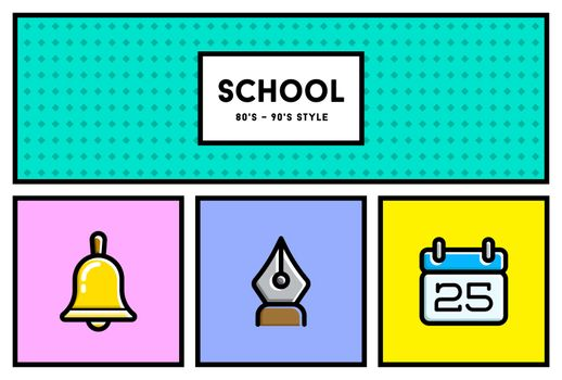Vector 80's or 90's Stylish School Education Icon Set with Retro Colors